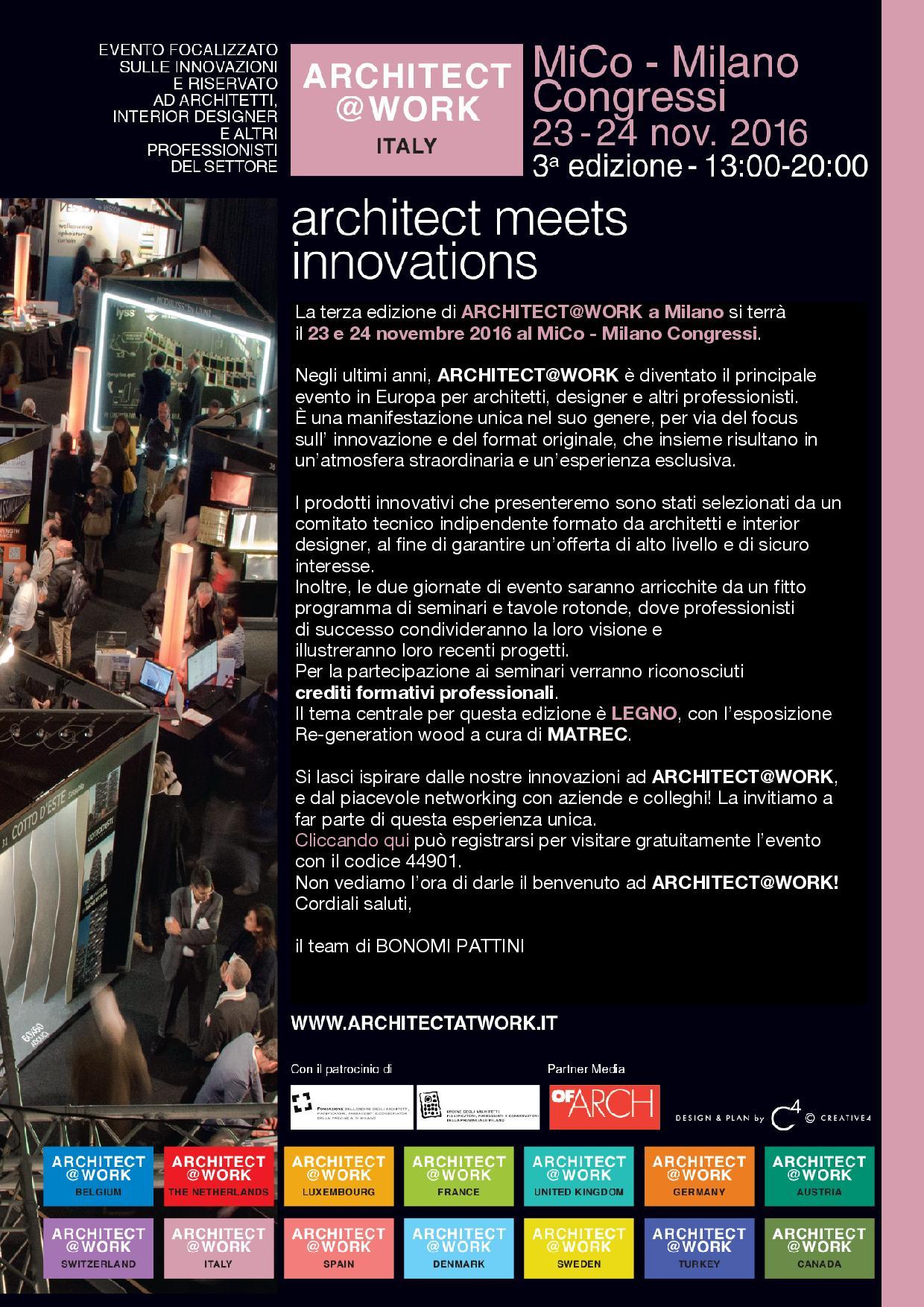 Evento Architect@Work MiCo – Milano Congressi 23-24 novembre 2016