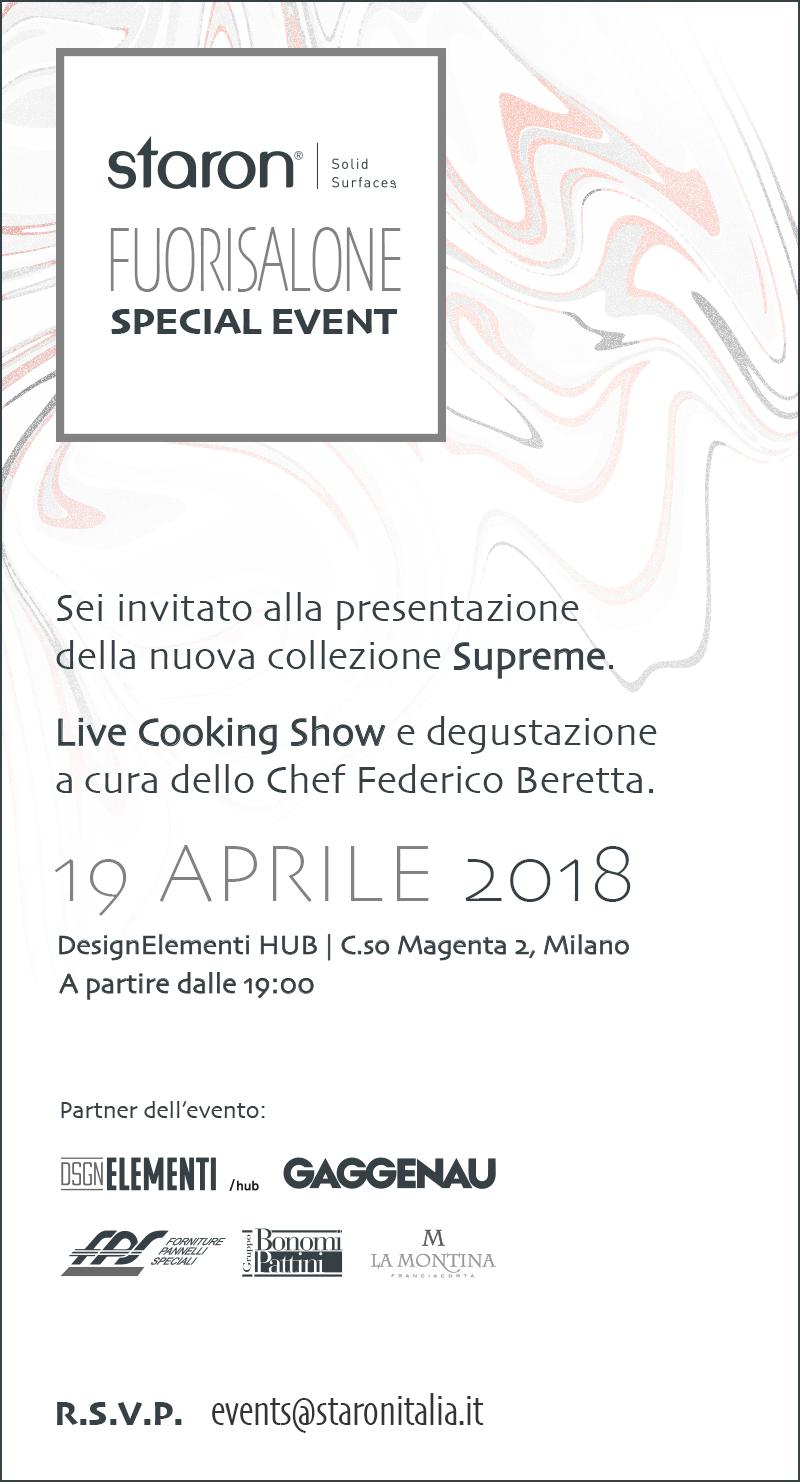 Il Gruppo Bonomi Pattini è partner dell'evento STARON al Fuorisalone 2018