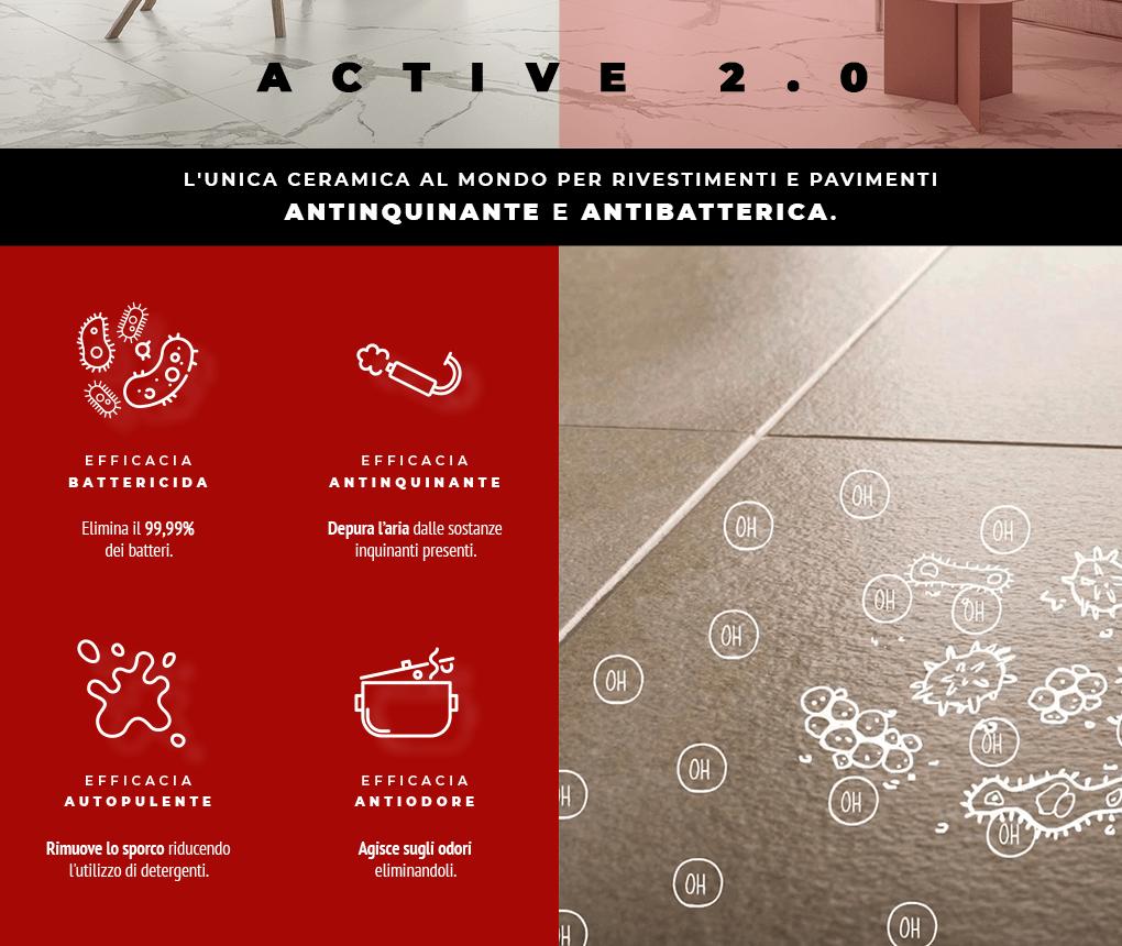 Il Gruppo Bonomi Pattini presenta Active 2.0, la ceramica antinquinante a antibatterica